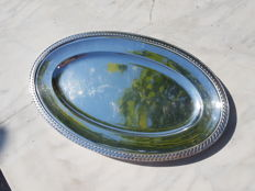 "exceptional, large and heavy oval serving plate, ""torpilleur"" (torpedo) model from Christofle"