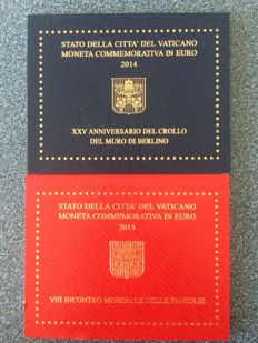 Vatican - 2 Euro 2014 'Berlin Wall' + 2 Euro 2015 'World Family Days'