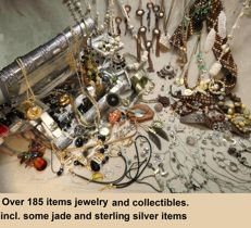 A massive lot of decorative Jewelry from an estate clearance  You are buying everything in the photos over 185 items of mixed jewelry and Collectibles.