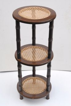 Caned round triple side table mat imitation rattan legs Belgium, approx. 1970