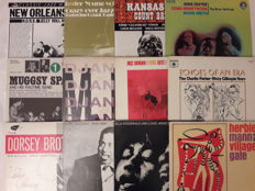 Lot of 12 Jazz and Blues Vinyl -  Count Basie, Dorsey Brothes, Dizzy Gillespie, Ella Fitzgerald & Louis Armstrong, Herbie Mann, Muggsy Spanier, The Modern Jazz Quartet, Stan Getz, Jelly Roll Morton, Lester Young, Various Artist, Charlie Parker (2 LP Set)