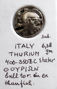Greek antiquity – Thurium, Greek rule in southern Italy, ca. 443-400 B.C. – Fourree stater. This is a suberate/fourree with AE core, a forgery from that time