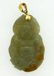 Vintage 18K yellow gold and jadeite catved Buddha pendant, circa. 1950's, AJF, 12 grams