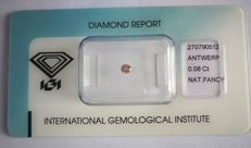 Natural Fancy Intense Brownish Pink Diamond 0.08 ct, with IGI certificate ***LOW RESERVE PRICE***