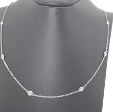 Diamond necklace with ten diamonds, in total 0.50 ct ***no reserve price ***