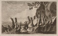 Frederick Bloemaert (1616 - 1690) - Rare landscape etching, coastal view,  after his father Abraham Bloemaert  - Ca. 1640