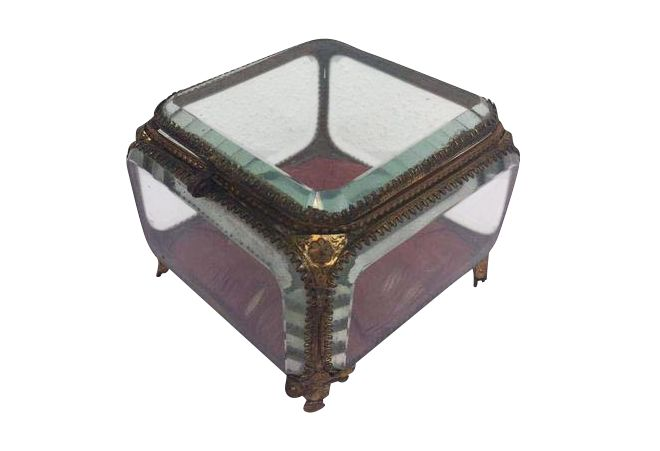 A jewellery box made of facet cut glass and brass frames - large ...