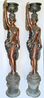 Great pair of lamps or torchero in bronze, 20th century - 213 cm high