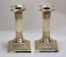 Pair of filled silver candlesticks - Edmond Johnson Ltd - Sheffield - 1911