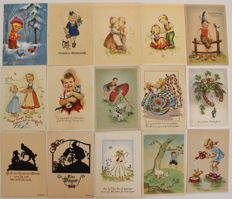 Lot with 220 postcards + 84 trade cards for example Liebig / van Houten cocoa + 37 x Ars Sacra many Bohatta Morpurgo + 100 more tourist postcards and greeting cards.