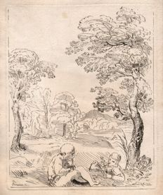 Le comte de Caylus ( 1692 -- 1765 ) - Landscape with two boys seated - 1720/1740