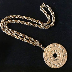 Joseff Of Hollywood Necklace Talismon Astrology - Gold Tone Metal - Pendant: 53 mm Diameter - Chain length: 17 in