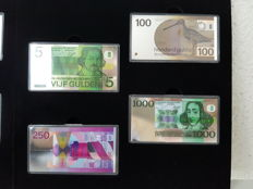 The Netherlands - 2015 DNB, issued by the KNM (Royal Dutch Mint) - complementary set with four coloured silver miniature banknotes