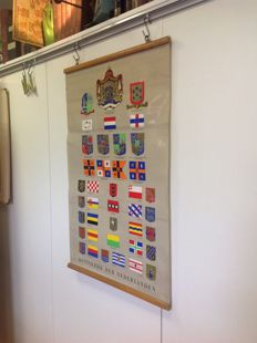 "Heraldry, school poster ""Kingdom of the Netherlands"" with all heraldic arms and flags of The Netherlands and colonies"