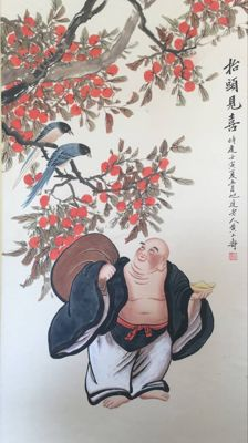 Hand painted large scroll painting, made after Huang shanshou - China - late 20th century