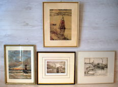 Collection of four maritime lithographs 19th and 20th century