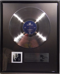 "U2 - Wide awake in America  - 12"" Island Record platinum plated record by WWA Awards"