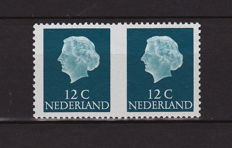 The Netherlands 1969 – Combination from stamp booklet 8b, variety middle imperforate
