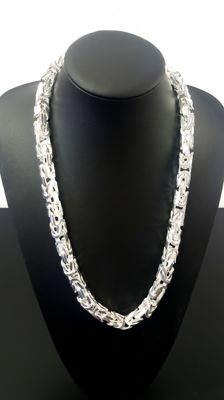 Silver king's braid necklace, 925K, length: 65.5 cm, width: 1 cm, weight: 353 g