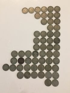 Portugal -- Lot of 57 × 50 centavo coins from 1928 to 1959