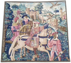 Pictorial Tapestry 101 cm x 97 cm, Le depart pour La Chasse, after the example in Musee de Vluny, Paris, France, second half 20th century