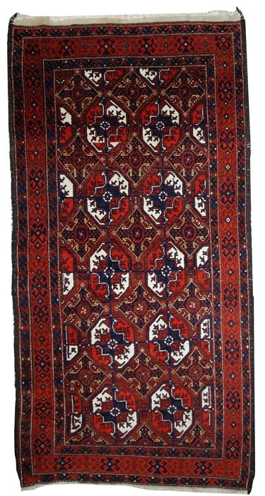 Hand made antique Afghan Baluch rug 3.6' x 7.3' ( 112cm x 223cm )