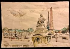 Geneviève Marie Gallibert  (French, 1888 - 1978 ) - Paris , Place de La Concorde