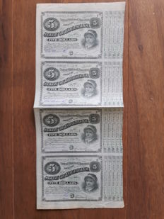 State of Louisiana Baby Bonds, uncut sheet of 4 bonds. 187 – ties (green number)