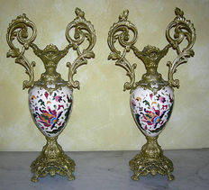 A pair of antimony and ceramic vases in Art Nouveau style - Italy - early 20th century