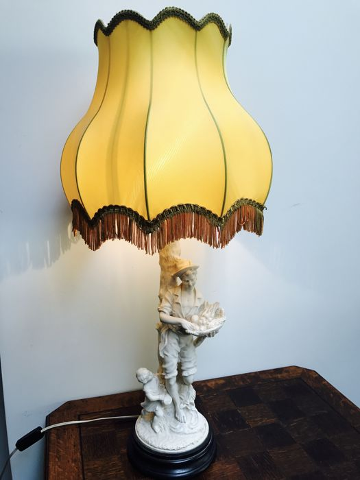 Alabaster Table Lamp With Yellow Cloth Shade Catawiki