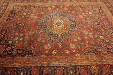 Old hand-knotted Art Nouveau Persian palace carpet, Mashhad, 270 x 370 cm, made in Iran, signed by master weaver