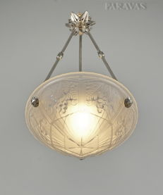 MAYNADIER - Art Deco chandelier - nickeled bronze and frosted pressed glass