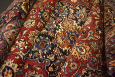 Old hand-knotted Art Nouveau Persian palace carpet, Masshad, 240 x 340 cm, made in Iran, signed by master weaver