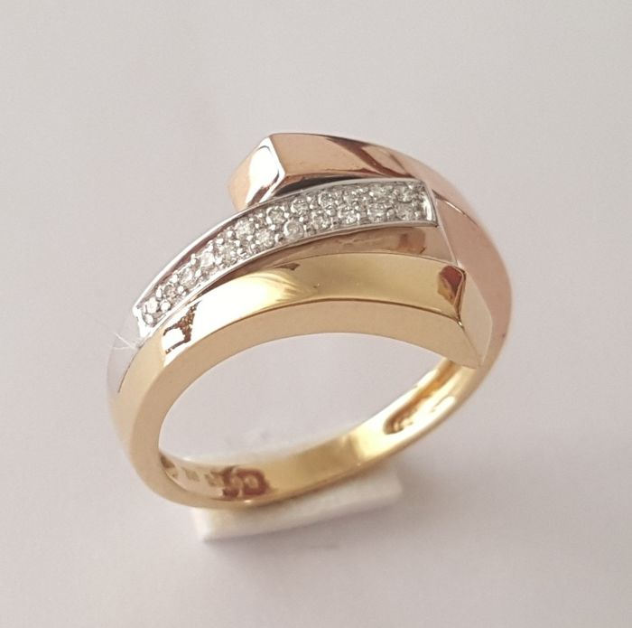 Tricolour 18 kt gold ring with diamonds - Size: 17.2 mm, 14/54 (EU)