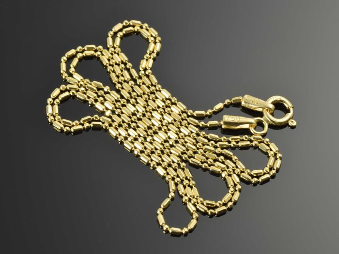 "18k Gold Necklace. Chain ""Bar & Bead"" - 50 cm"