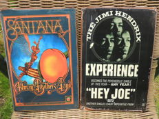 Two Stunning - Santana  - Jimmy Hendrix - Metal Memorial Concert Signs  - Greatest Guitarists Of The World -