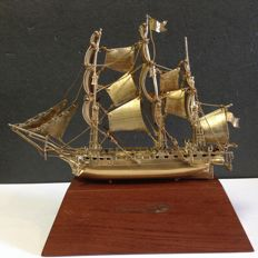 Sterling silver and gold plate replica ship USS Constitution, Janna, circa 1978-1979