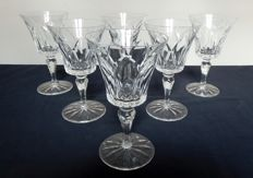 6 St Louis Crystal red wine glasses, model Camargue, France, prior to 1950s
