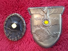 3rd Reich Crimea shield and wounded badge in black (guaranteed originals) estate of a Wehrmacht officer
