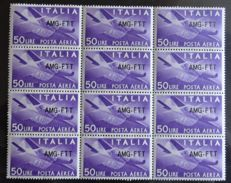 Trieste A 1954 - AMG FTT - Block of 12 stamps - 50 Lire Airmail (variation) - Sass.  N°  22A