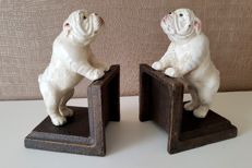 Bookends with Bulldogs-cast iron-2nd half of 20th century
