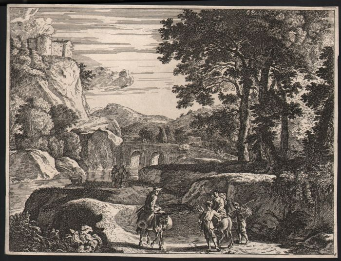 Herman Van Swanevelt (1600-1655) after - Landscpae with travellers in a river valley - Ca 1650/1670