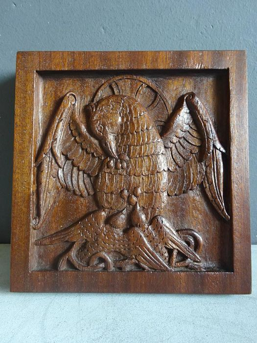 Lot of hand carved religious hardwood relief carvings