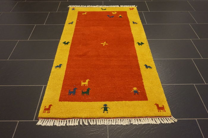 Hand-knotted carpet Gabbeh nomad's work carpet wool on wool made in India 93X163 cm like new