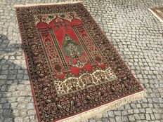 "Hand knotted SILK RUG  with Persian Design  ""Eden Garden "" 205x120 cm"