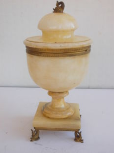 Bronze and alabaster lidded urn - Italy - early 20th century