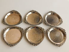 Six silver Djokja coasters, Indonesia, ca 1930