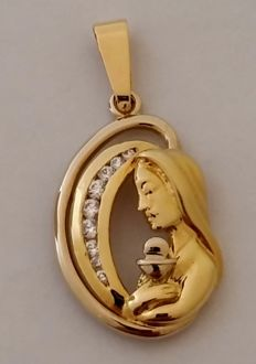 Pendant in 18 kt yellow gold with zircons Weight: 4.82 g