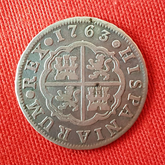 Carlos III - 2 silver reales - Year 1763 - Mint of Madrid - J.P.