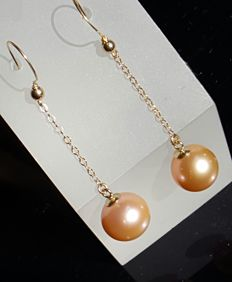 14 kt/585 yellow gold cultivated pearl  earrings -50 x 11 mm, weight 3.7 g